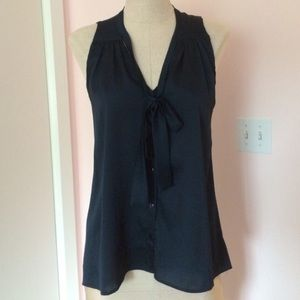 Eight sixty navy blue tie in front silky blouse S